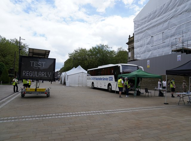 A mobile Covid-19 vaccination centre outside Bolton Town Hall