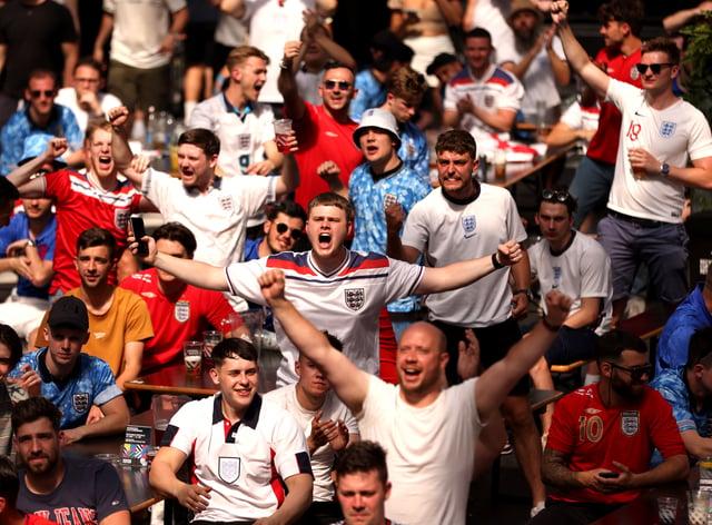 Fans watching England v Croatia