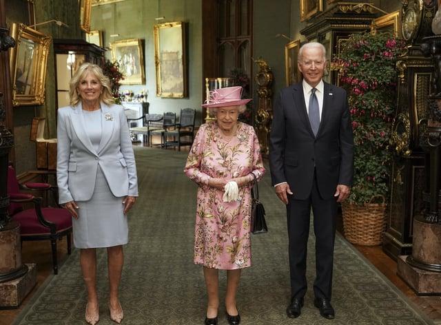 <p>The Queen with US President Joe Biden and First Lady Jill Biden</p>