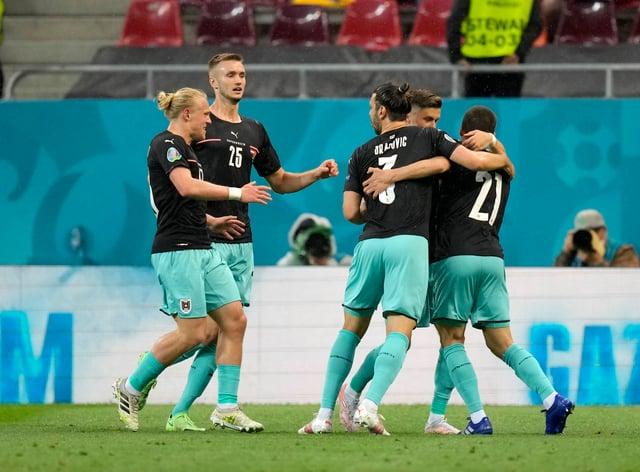 Austria celebrate a goal