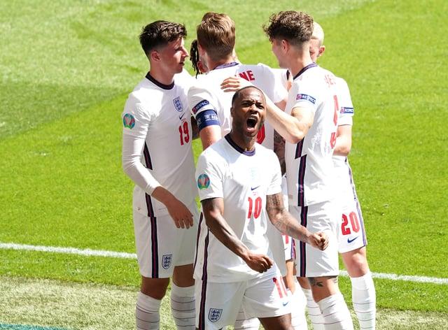 England's Raheem Sterling (centre) celebrates scoring