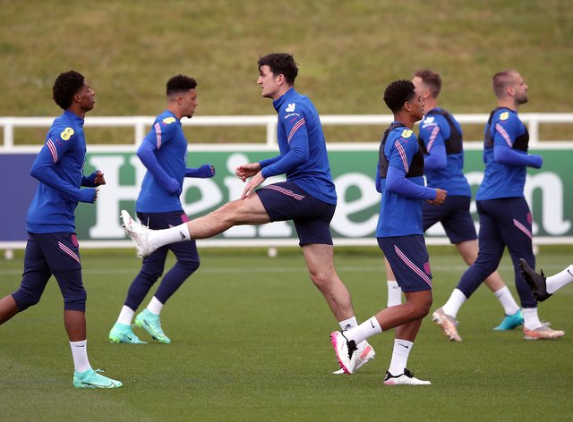 Harry Maguire (centre) trained again with England
