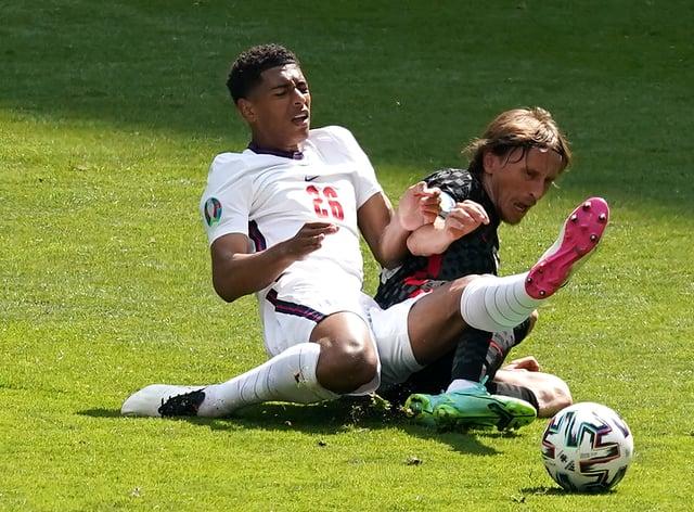 Jude Bellingham, left, made history in England's Euro 2020 opener against Croatia