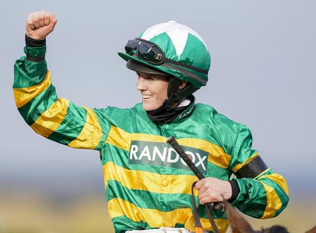Rachael Blackmore celebrates winning the Randox Grand National Handicap Chase on Minella Times