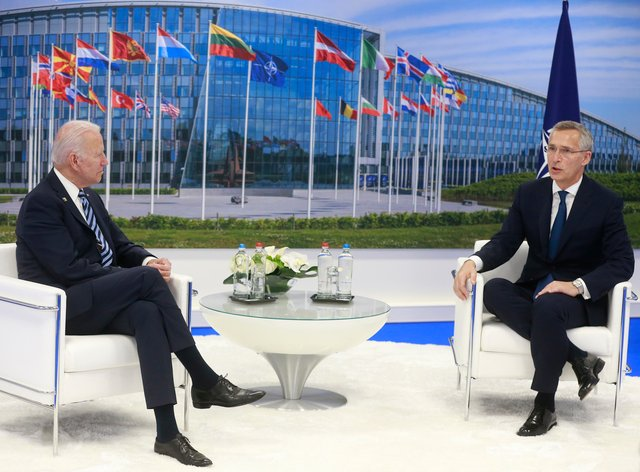 Nato secretary general Jens Stoltenberg and US President Joe Biden