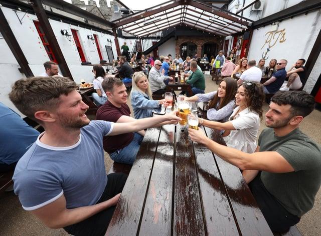 People in beer garden