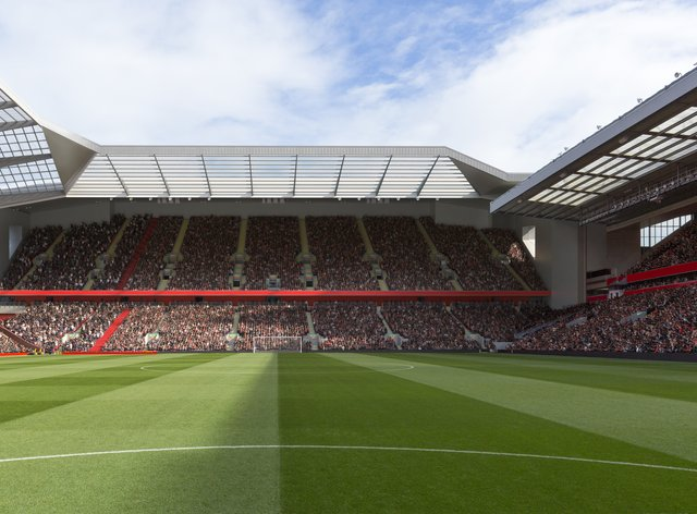 Artist's impression of a redeveloped Anfield Road stand