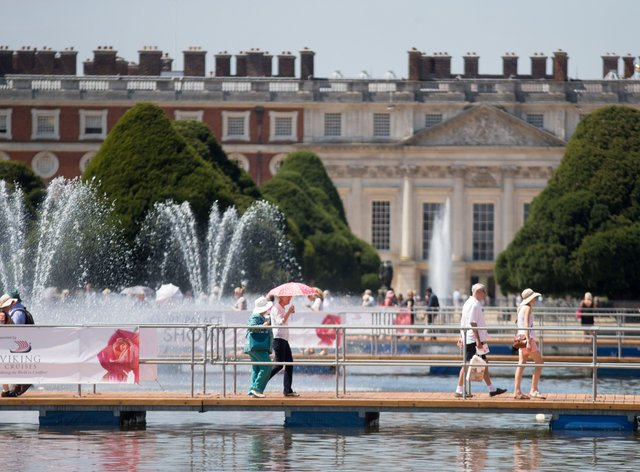 Hampton Court with visitors to the flower show