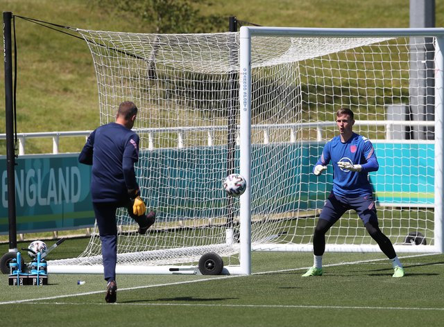 Goalkeeper Dean Henderson (right) has been forced to withdraw from the England squad