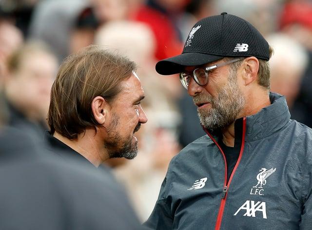 Norwich manager Daniel Farke (left) and Liverpool boss Jurgen Klopp