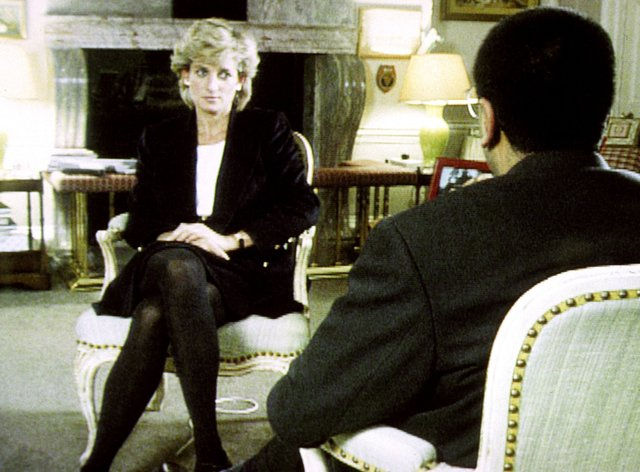 Diana, Princess of Wales during her interview with Martin Bashir