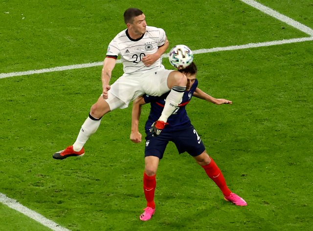 France full-back Benjamin Pavard says he was knocked out following this clash with Germany's Robin Gosens