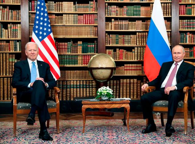 US president Joe Biden meets with Russian president Vladimir Putin