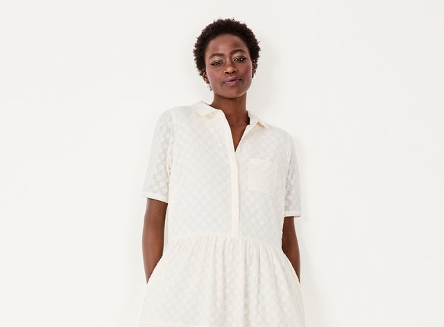 Model wearing Hush Joan Midi Shirt Dress