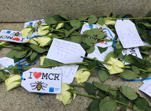 Floral tributes to victims of the Manchester Arena bombing