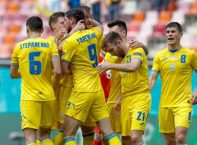 Ukraine celebrate a goal