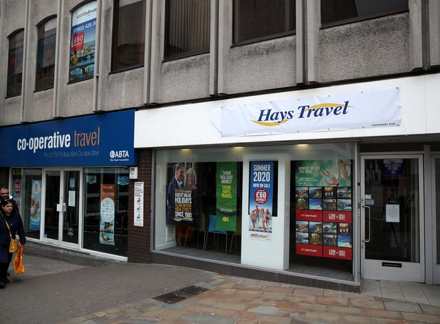 Branches of travel agents Co-operative Travel and Hays Travel