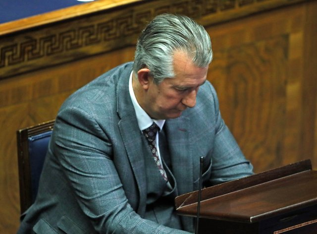 <p>DUP leader Edwin Poots in the Chamber</p>