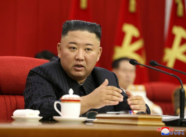 <p>North Korean leader Kim Jong Un speaks during a Workers' Party meeting in Pyongyang on Thursday</p>
