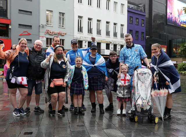 Scotland and England fans in London's Leicester Square