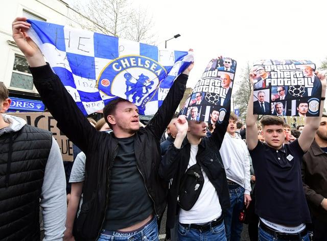 Chelsea fans protesting against the Super League in April