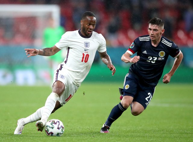 Raheem Sterling in action against Scotland