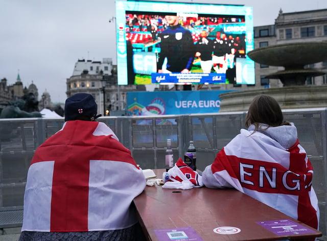 Fans watch England v Scotland