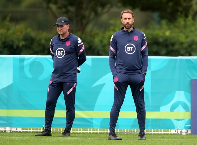 England manager Gareth Southgate (right) alongside his assistant Steve Holland