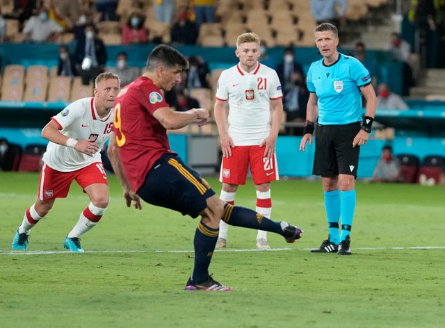 Spain's Gerard Morena misses a penalty against Poland at Euro 2020