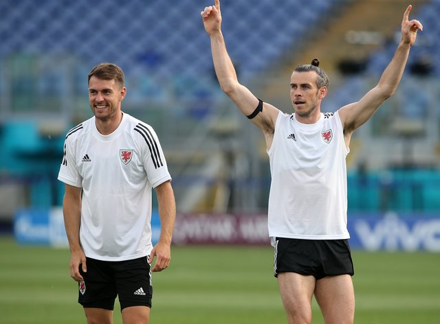 Wales' Aaron Ramsey (left) and Gareth Bale (right) during a training session at the Stadio Olimpico in Rome