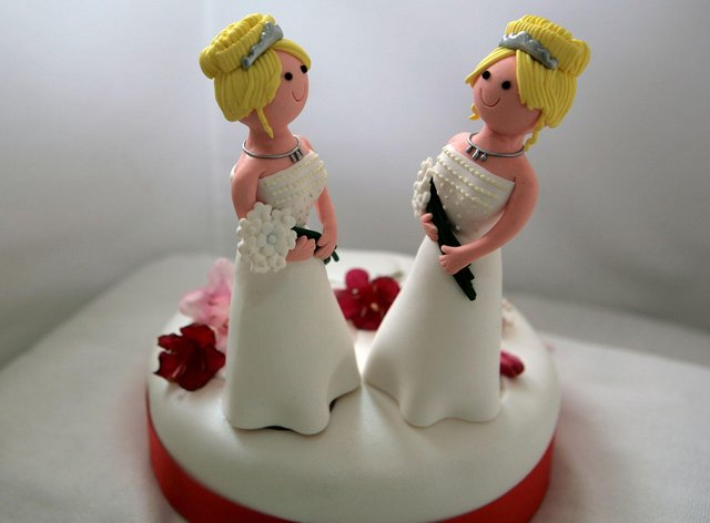 General view of a wedding cake topper for a civil partnership ceremony