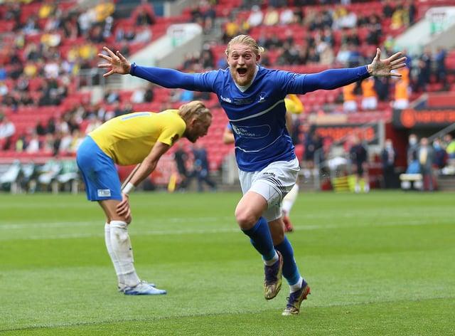 Hartlepool's Luke Armstrong celebrates scoring