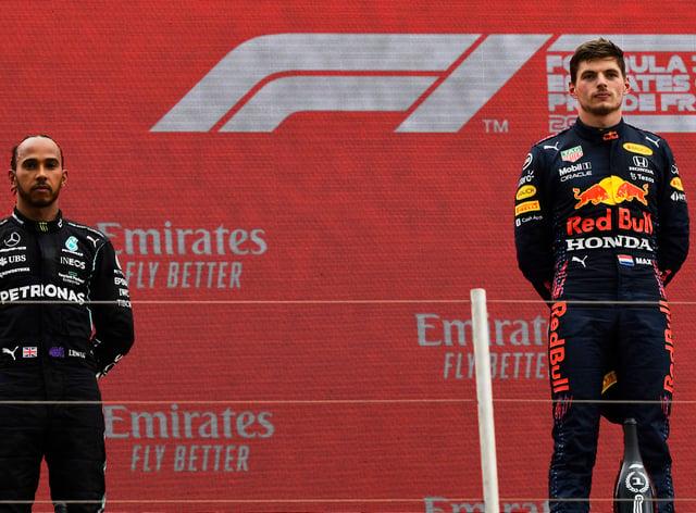 Lewis Hamilton, left, was beaten by Max Verstappen in France