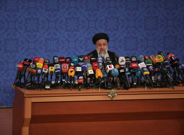 Iran's new President-elect Ebrahim Raisi speaks during a press conference in Tehran
