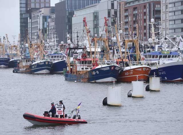 Trawlers from all around the Irish coast gathered outside the Convention Centre in Dublin, where fishermen are protesting over cuts to quotas, the impact of Brexit and the EU Common Fisheries Policy