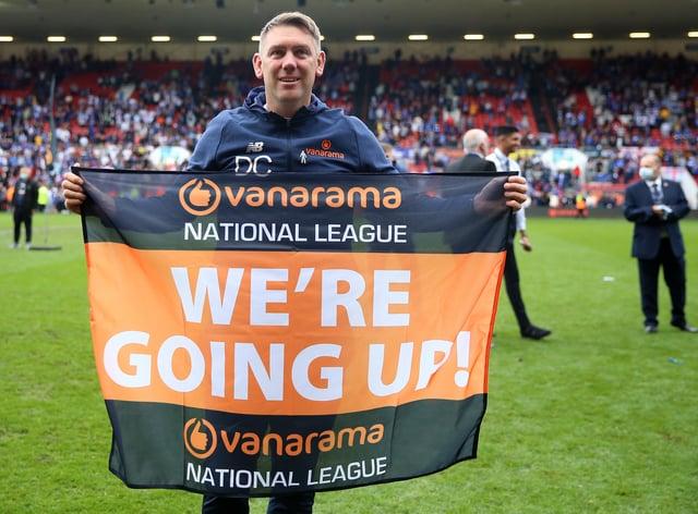Hartlepool manager Dave Challinor celebrates