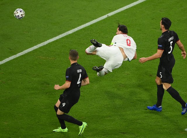 <p>Adam Szalai's flying header gave Hungary an early lead in Munich</p>