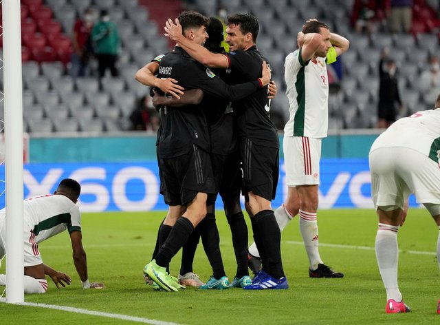 German players celebrate against Hungary