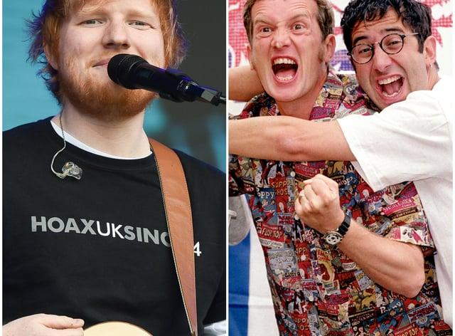 Ed Sheeran, Frank Skinner and David Baddiel