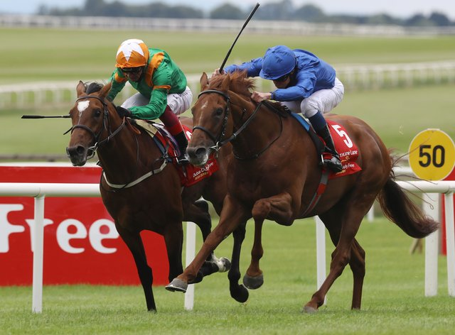 Hurricane Lane (right) just saw off Lone Eagle at the Curragh