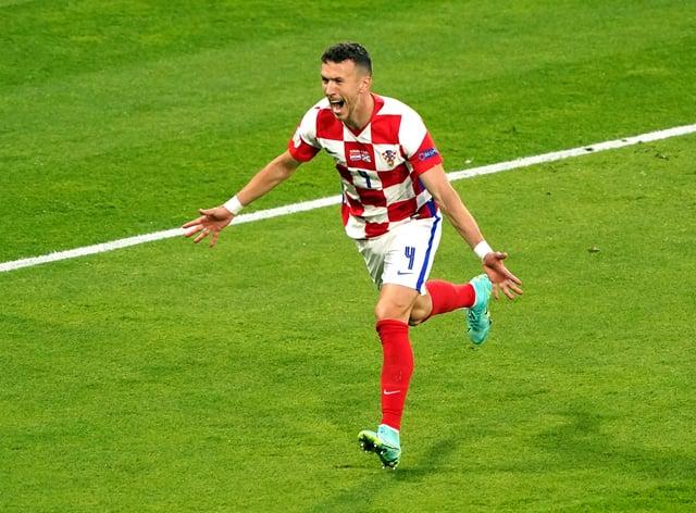 Croatia's Ivan Perisic celebrates scoring against Scotland at Hampden Park