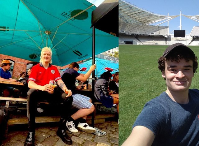 Joel Phillips (left) and Jack Francis (right), two England fans in Europe who will be attending England v Ukraine in Rome