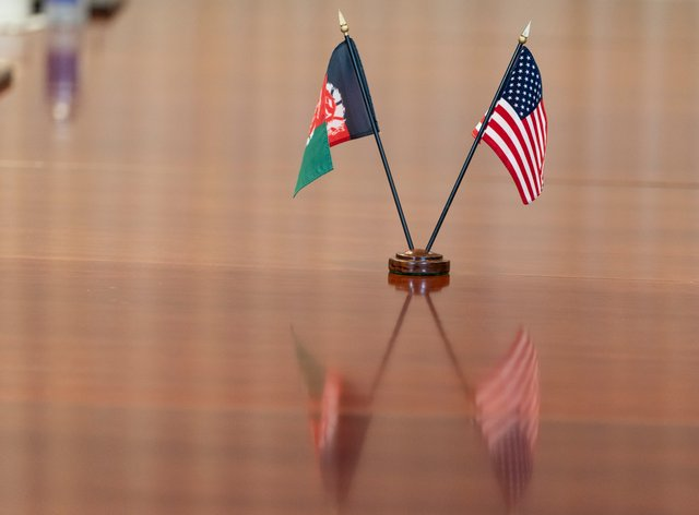 The flags of Afghanistan and the United States