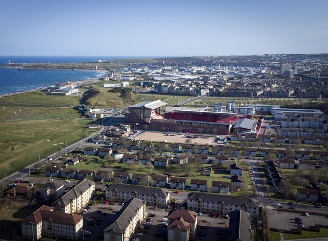 An aerial view of Aberdeen's Pittodrie Stadium