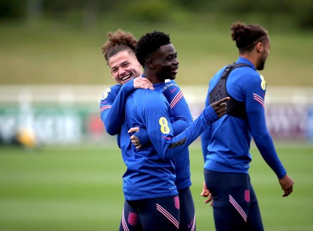 Bukayo Saka trained with England