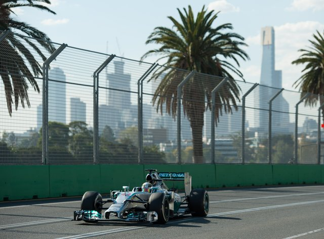 Lewis Hamilton of Mercedes AMG Petronas during practice for the 2014 Australian Grand Prix at Albert Park