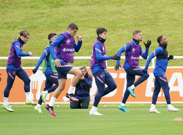 England players at training on Tuesday
