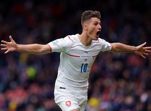 Czech Republic's Patrik Schick celebrated scoring a fine long-range goal against Scotland at Hampden Park