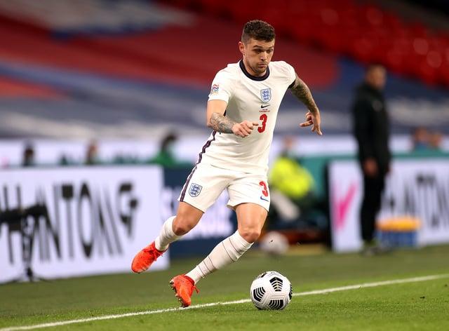 England's Kieran Trippier dribbles the ball