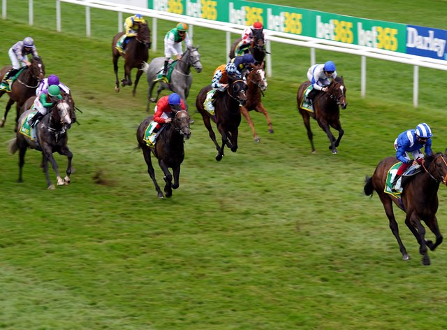 Motakhayyel stretches clear of his rivals in the Bunbury Cup at Newmarket
